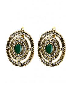 Cercei eleganti vintage, ovali, cristal verde mare si borduri concentrice