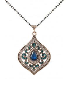 Colier vintage glam, medalion ascutit inflorat, cu borduri de cristale