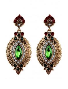 Cercei eleganti vintage, ovali, model floral si cristal verde cat-eye