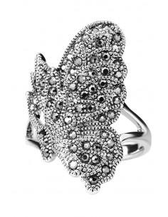 Inel vintage asimetric, fluture decorat cu hematite