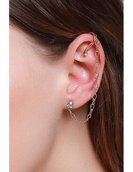 Cercel ear cuff minimal, cuff cu cristal, lantisor si prindere dubla