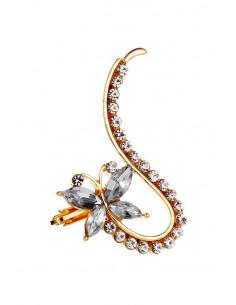 Cercel ear cuff cu fluturas cu coada lunga, decorat cu cristale