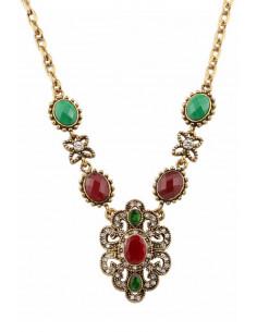 Colier vintage glam, medalion cat eye, floricele si cristale multicolore