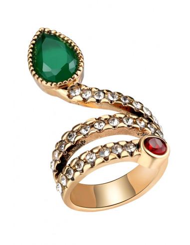 Inel vintage elegant, sarpe incolacit, cu cristale albe, rosii si verzi