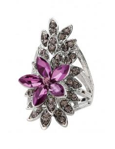 Inel elegant lung, floare cu petale din cristale mov pe frunza cu cristale gri
