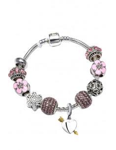 Bratara tip Pandora placata cu argint, inimioare, flori si margele cu cristale marunte