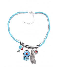 Colier etnic, medalioane pictate, cu margelute, cristale, lantisoare