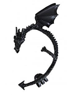 Cercel tip ear cuff, dragon incolacit cu aripi mari, prindere dubla, pe ureche