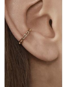 Cercel ear cuff minimal, veriga rotunda dubla, cu bilute