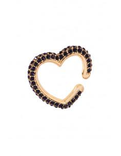 Cercel ear cuff elegant, inimioara masiva, decorata cu cristale