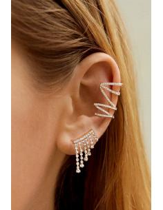 Set elegant, ear cuff si cercel cu cristale, spirala lunga si franjuri