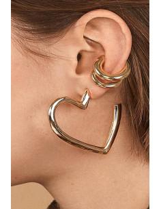Set elegant, ear cuff verigi si cercel inimioara masiva