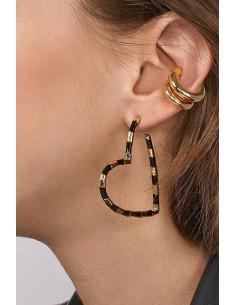 Set elegant, ear cuff verigi si cercel inimioara masiva, cu dungi negre