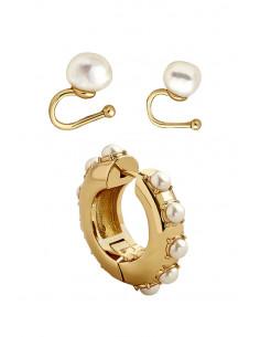 Set elegant, ear cuff si cercel rotund, cu perle albe de cultura
