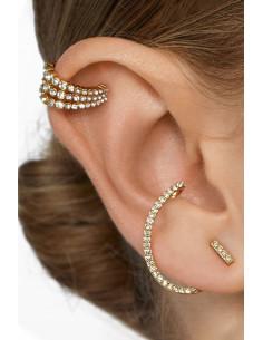 Set elegant de ear cuffs, veriga tripla si cercel cu carlig, decorate cu cristale
