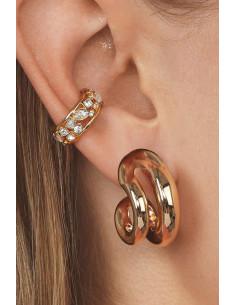 Set elegant, ear cuff cu cristale variate si cercel masiv