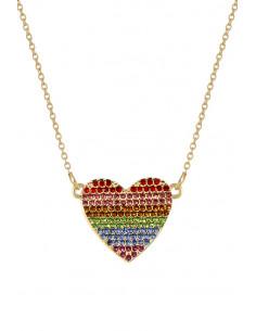 Colier elegant, lantisor subtire cu medalion inimioara cu cristale colorate