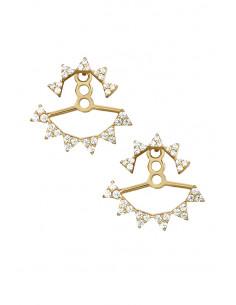 Cercei eleganti, coronite cu cristale grupate cate trei
