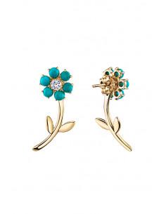 Cercei eleganti, flori mici cu margelute si cristale, tija cu frunze