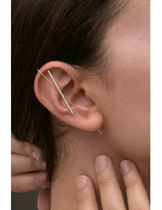 Cercel ear cuff, tije lungi intersectate, cu cristale stralucitoare