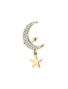 Cercel ear cuff elegant, semiluna cu cristale si steluta