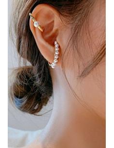 Set elegant de cercei ear cuff, verigi decorate cu perlute