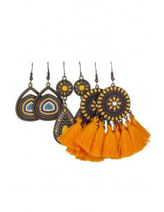 Set de 3 perechi de cercei etnici, medalioane florale multicolore si canafi