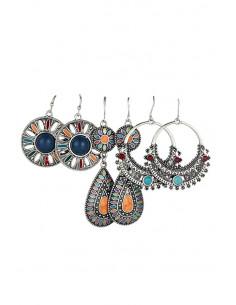 Set de 3 perechi de cercei boho, modele etnice pictate multicolor