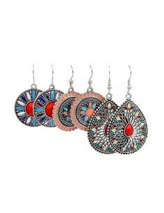 Set de 3 perechi de cercei boho, medalioane multicolore pictate