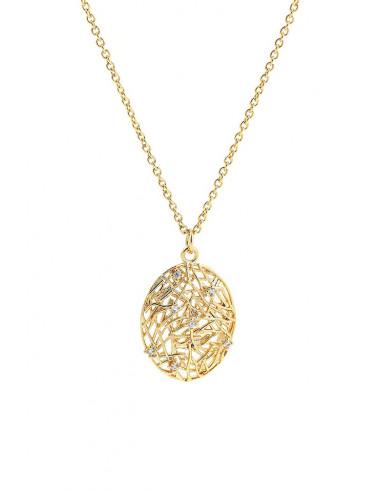 Colier minimal, subtire, medalion filigranat oval, cu cristale