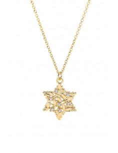 Colier minimal, subtire, medalion filigranat steluta, cu cristale