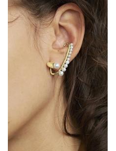 Cercel ear cuff elegant, tija lunga cu carlig, decorata cu perlute