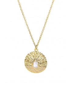 Colier minimal, subtire, medalion filigranat rotund, cu cristale