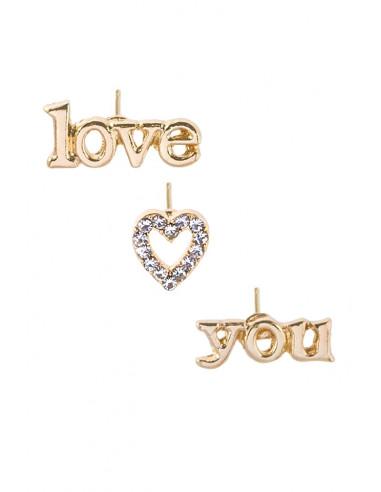 """Set 3 cercei minimal, cu mesaj """"Love you"""", inimioara si cristale"""