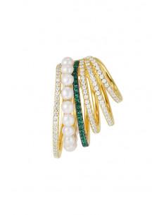 Cercel ear cuff statement, 5 inele cu cristale si perlute