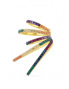 Cercel ear cuff statement, 5 inele de diverse dimensiuni, cu cristale
