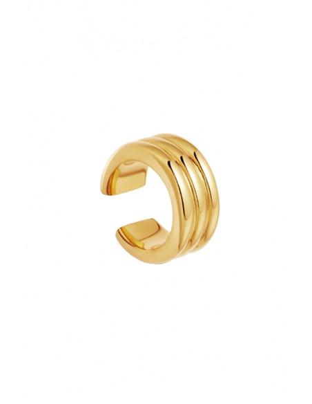 Cercel ear cuff minimal, inel triplu, lucios