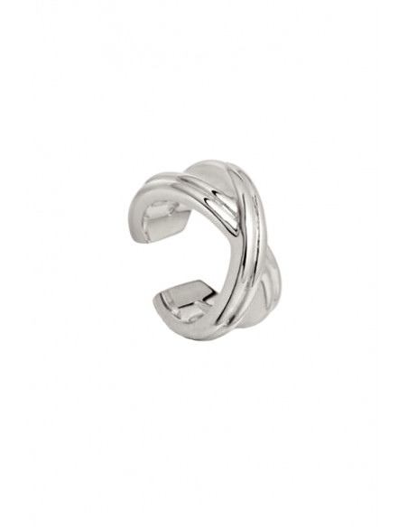 Cercel ear cuff minimal, inel dublu intersectat