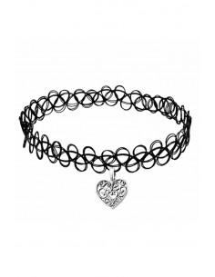 Colier tattoo choker negru elastic, cu inimioara filigranata
