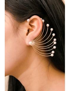Cercel ear cuff statement, evantai mare cu perle, prins pe dupa ureche
