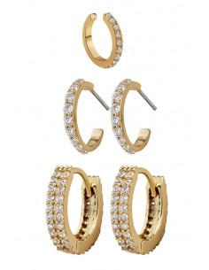 Set elegant de cercei si ear cuff, verigute cu cristale mici fatetate