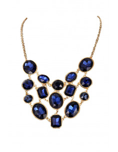 Colier elegant, medalioane ovale si dreptungiulare, cristale mari fatetate