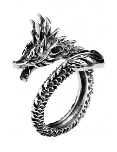 Inel masiv punk, model cu dragon chinezesc, incolacit pe deget