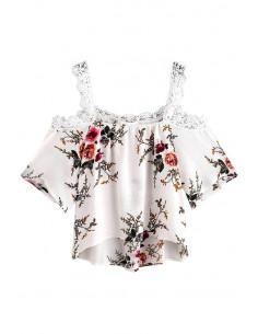 Top larg de vara, alb cu floricele, cu dantela crosetata
