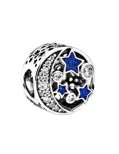 Charm pentru bratara, semiluna cu stelute albastre