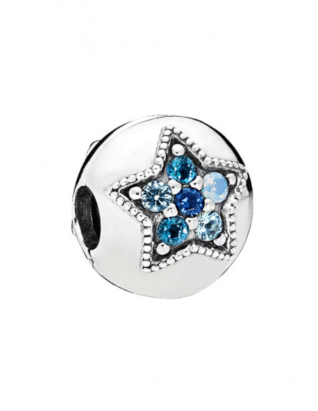Charm pentru bratara, biluta cu doua stele cu cristale albastre