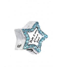 Charm pentru bratara, steluta cu zana si cristale bleu