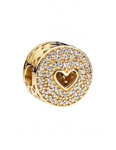 Charm pentru bratara, decorat cu inimioare si cristale