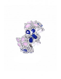 Charm pentru bratara, ingust, cu fluturasi roz si albastri
