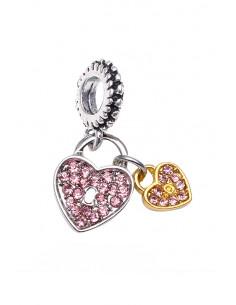 Charm pentru bratara, inel cu doua inimioare bicolore, cu cristale